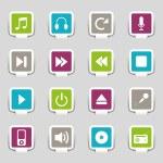 música de iconos web 16 — Vector de stock