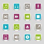 16 Web icons music — Stockvector