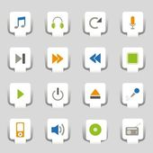 16 Web icons music — Stock vektor