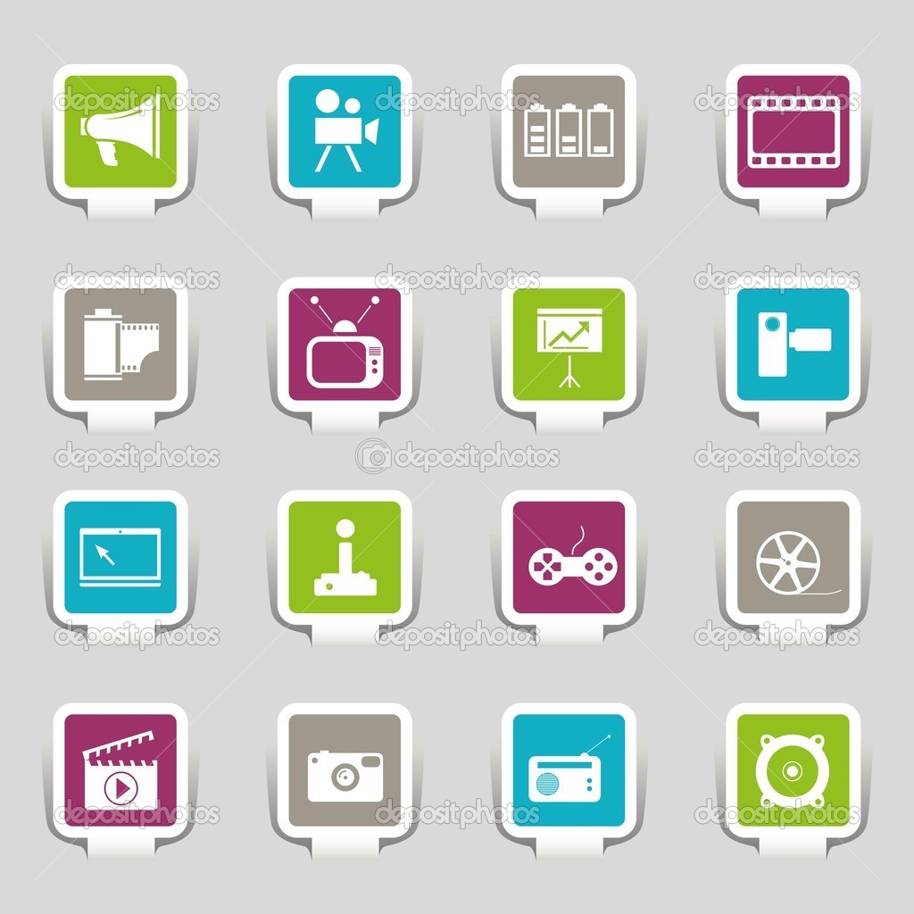 16 icons media on grey  Stock Vector #9851888