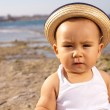 Baby with straw hat — Photo