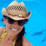 Woman in a pool — Stock Photo