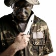 Young soldier face — Stock Photo