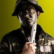Young soldier face - Stock Photo