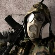 Soldier with gas mask — Stock Photo #10173333