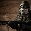 Soldier with gas mask — Stock Photo #10173402