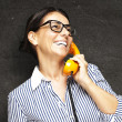 Woman with telephone — Photo