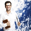Man holding book — Stock Photo