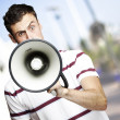 Man with megaphone — Foto de Stock