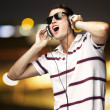 Stock Photo: Man listening music