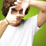 Man gesturing frame — Stock Photo