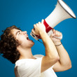 Man with megaphone - Stock Photo
