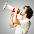 Man with megaphone — Stock Photo #10179158