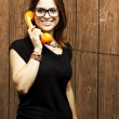 Woman talking on telephone — Stock Photo #10179700