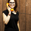 Stock Photo: Woman talking on telephone