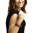 Woman gesturing victory — Stock Photo