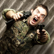Soldier aiming — Stock Photo