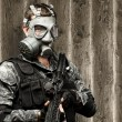 Soldier with gas mask — Stock Photo #10179915