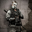 Soldier with gas mask — Stock Photo #10179917