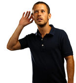 Young man hearing sounds — Stock Photo