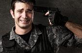 Young soldier suicide — ストック写真