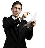 Uomo d'affari con contratto — Foto Stock