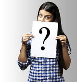 Young woman question — Stock Photo