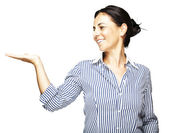 Woman holding gesture — Stock Photo