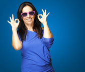 Woman gesturing good — Stock Photo