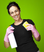Woman ready to clean — Stock Photo