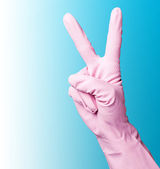 Pink cleaning gloves — Stock Photo