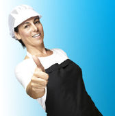 Cook with mesh top hat — Stock Photo