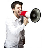 Man with megaphone — Stock Photo