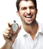 Man holding stopwatch — Stock Photo
