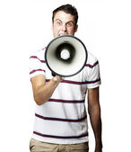 Man with megaphone — Stock Photo
