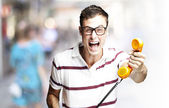 Man giving telephone — Stock Photo