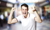 Man pointing up — Stock Photo
