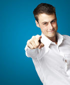 Man pointing with finger — Stock Photo