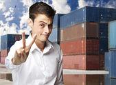 Man gesturing good — Stock Photo