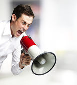 Man with megaphone — Foto Stock