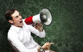 человек с мегафоном — Стоковое фото