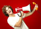 Uomo con il megafono — Foto Stock