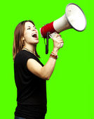 Young with megaphone — Stock Photo