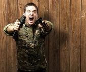 Voják, jehož cílem je — Stock fotografie