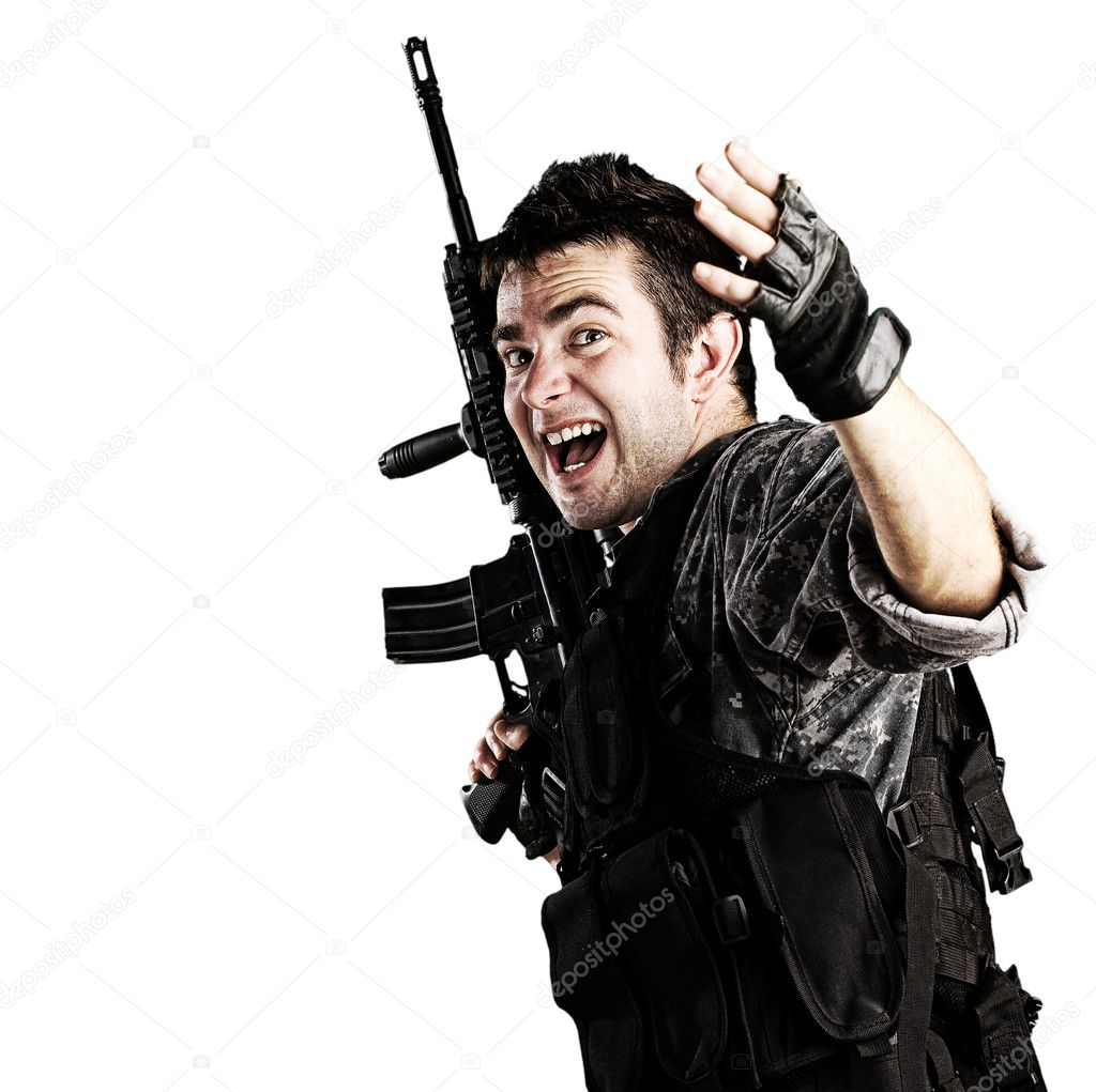 Portrait of young soldier telling that follow him against white background — Stock Photo #10172804