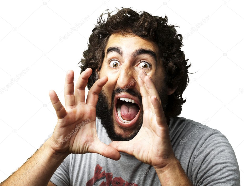 Portrait of young man screaming against a white background — Stock Photo #10173436