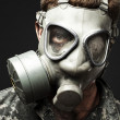 Soldier with gas mask - Zdjcie stockowe
