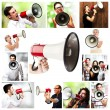 Group of shouting with a megaphone — Stock Photo