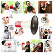 Group of shouting with a megaphone — Stock Photo #10180090