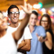 Young enjoying at city by night — Stock Photo